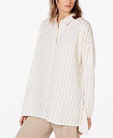 Eileen Fisher Organic Cotton Button-Down High-Low Shirt