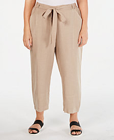 Eileen Fisher Plus Size Tie-Waist Pants