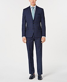 Dark Men's Slim-Fit Plaid Suit Separates