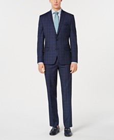 Bar III Dark Men's Slim-Fit Plaid Suit Separates