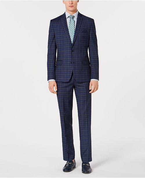 Bar III Dark Men's Slim-Fit Plaid Suit Separates