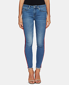 CeCe Frayed-Hem Striped-Leg Jeans