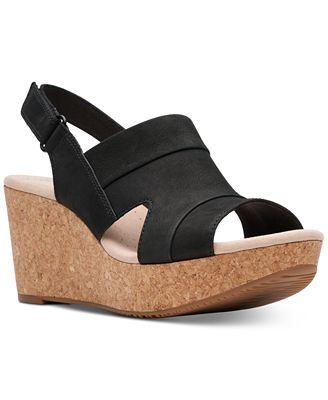 Clarks black wedge sandals