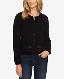 CeCe Cotton Pointelle-Trimmed Cardigan Sweater