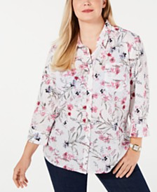 07767fd18cc Karen Scott Plus Size Wildflower Bliss Button-Up Shirt