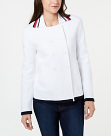 Tommy Hilfiger Spread-Collar Peacoat Sweater, Created for Macy's