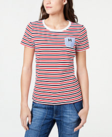 Tommy Hilfiger Striped Chambray-Pocket Cotton T-Shirt