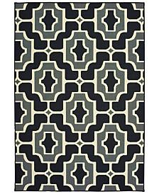 """Oriental Weavers Marina 1491Z Black/Gray 1'9"""" x 3'9"""" Indoor/Outdoor Area Rug"""
