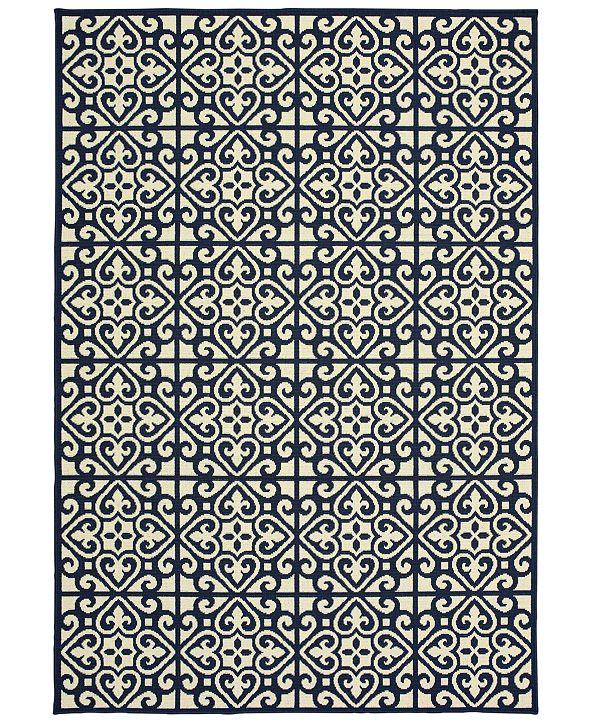 """Oriental Weavers Marina 5927B Ivory/Navy 3'7"""" x 5'6"""" Indoor/Outdoor Area Rug"""