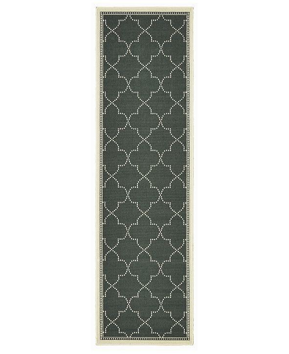 """Oriental Weavers Marina 6025 2'3"""" x 7'6"""" Indoor/Outdoor Runner Area Rug"""