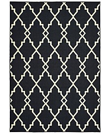 "Marina 7763K Black/Ivory 7'10"" x 10'10"" Indoor/Outdoor Area Rug"