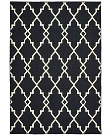 "Oriental Weavers Marina 7763K Black/Ivory 7'10"" x 10'10"" Indoor/Outdoor Area Rug"