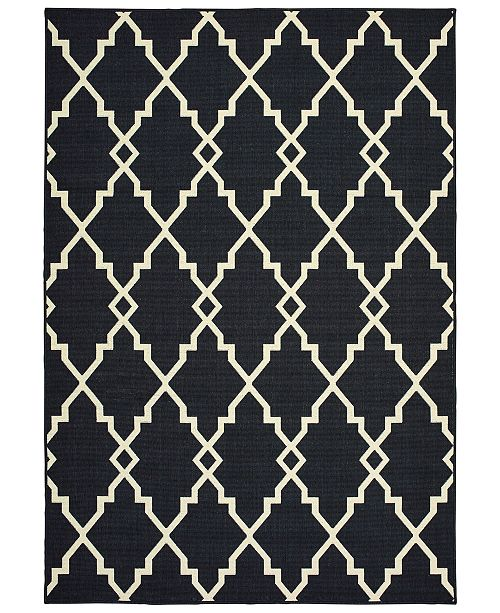 "Oriental Weavers Marina 7763K Black/Ivory 8'6"" x 13' Indoor/Outdoor Area Rug"