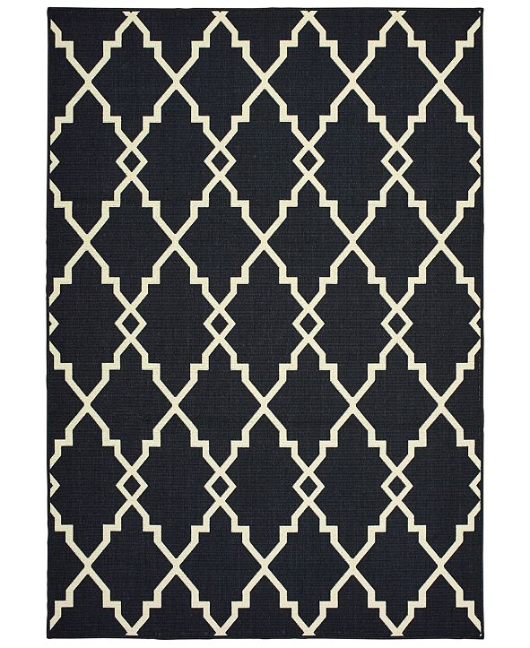 "Oriental Weavers Marina 7763K Black/Ivory 1'9"" x 3'9"" Indoor/Outdoor Area Rug"