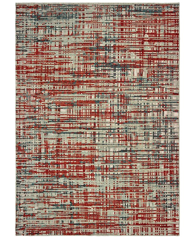 "Oriental Weavers Montage 5503X Grey/Red 5'3"" x 7'6"" Area Rug"