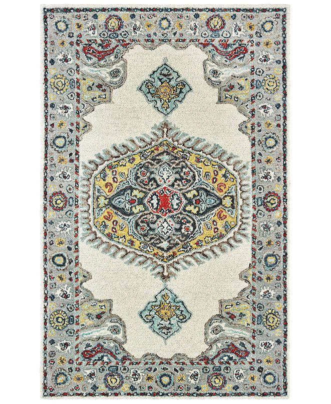 "Oriental Weavers Zahra 75505 Ivory/Grey 2'6"" x 8' Runner Area Rug"