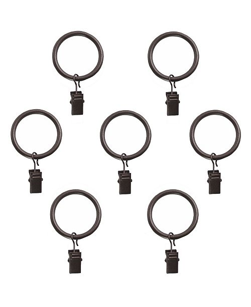 Decopolitan Montevilla Curtain Clip Rings for 5/8-Inch Curtain Rod, Set of 7, Toasted Copper
