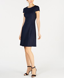 Jessica Howard Petite Polka Dot Fit & Flare Dress