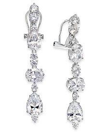 Eliot Danori Silver-Tone Crystal Clip-On Linear Drop Earrings, Created for Macy's