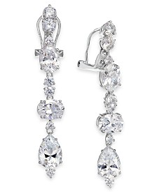 Eliot Danori Silver-Tone Crystal Clip-On Linear Drop Earrings, Created for Macy's