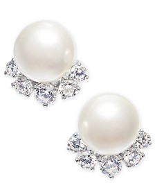 Silver-Tone Crystal & Imitation Pearl Stud Earrings, Created for Macy's
