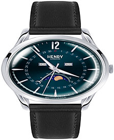 Henry London Knightsbridge Unisex 39mm Black Leather Strap Watch with Silver Stainless Steel Casing