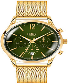Henry London Chiswick Gents 41mm Gold Stainless Steel Mesh Bracelet Strap Watch with Gold Stainless Steel Casing