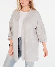Style & Co Plus Size Bishop-Sleeve Open-Front Cardigan, Created for Macy's