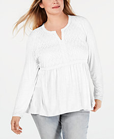 Style & Co Plus Size Lace-Bodice Babydoll Top, Created for Macy's