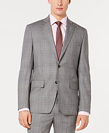 DKNY Men's Modern-Fit Plaid Suit Jacket
