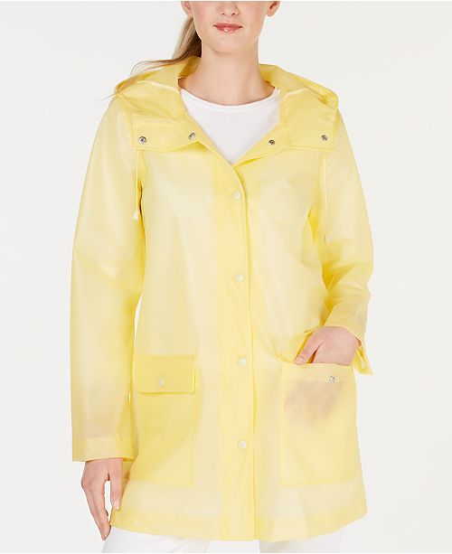 Collection B Juniors' Hooded Slicker Raincoat