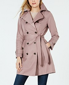 Petite Double-Breasted Hooded Water-Repellent Trench Coat