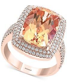 EFFY® Morganite (6-1/3 ct. t.w.) & Diamond (5/8 ct. t.w.) Statement Ring in 14k Rose Gold