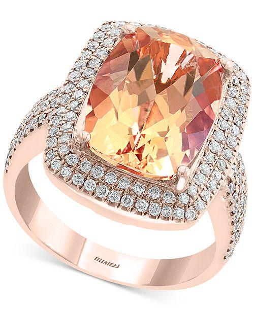 EFFY Collection EFFY® Morganite (6-1/3 ct. t.w.) & Diamond (5/8 ct. t.w.) Statement Ring in 14k Rose Gold