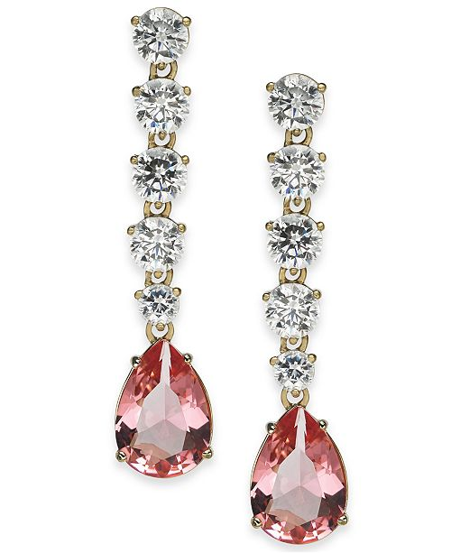 Eliot Danori Gold-Tone Pink Crystal Linear Earrings, Created for Macy's