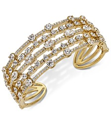 Eliot Danori Gold-Tone Crystal Multi-Row Cuff Bracelet, Created for Macy's
