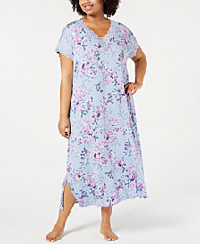 Charter Club Plus Size Printed Lace-Trim Nightgown, Created for Macy's