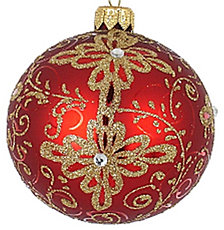 "Red with Gold Matte 4 Pc Set of Mouth Blown & Hand Decorated European 3.25"" Round Holiday Ornaments"