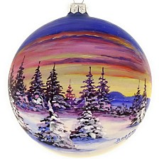 "Hand Painted Sunset on Mouth Blown & Hand Decorated European 4"" Round Holiday Ornament"