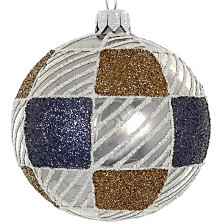 "Brown & Blue Plaid 4 Pc Set of Mouth Blown & Hand Decorated Glass European 4"" Round Holiday Ornaments"