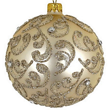 "Champagne Stones 4 Pc Set of Mouth Blown & Hand Decorated European 4"" Round Holiday Ornaments"
