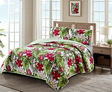 Paradise Palm 3 Piece Quilt Set Full/Queen