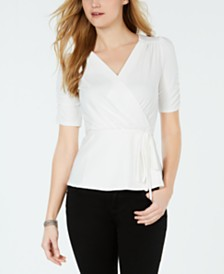John Paul Richard Petite Ruched Belted Top