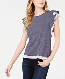 Mesh-Trim Ruffled-Sleeve Top, Created for Macy's