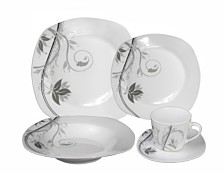 Lorren Home Trends Porcelain 20 Piece Square Dinnerware Set Service for 4