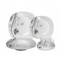Deals on Lorren Home Trends Porcelain 20 Piece Square Dinnerware Set