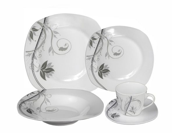 Lorren Home Trends Porcelain 20 Piece Square Dinnerware Set