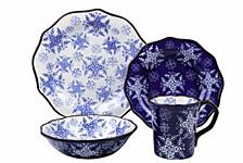 Samana Collection 16 Piece Wavy Edge Stoneware Set