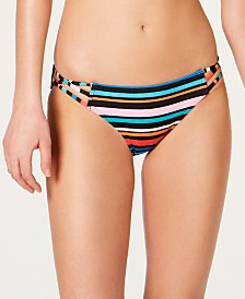 SUNDAZED Lucky Stripes Printed Strappy Bikini Bottoms, Created For Macy's