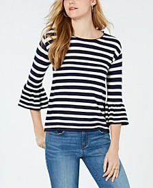 Petite Striped Bell-Sleeve Top